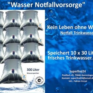 Faltbarer Wasserbeutel 10 x 30 Liter